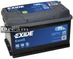 Exide Excell 12V 71Ah 670A jobb+ autó akkumulátor EB712
