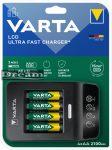 Elem akkumulátor töltő - LCD gyorstöltő 15 perc + AA 2400mAh x4 (R2U) + 12V