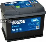 Exide Excell 62Ah 540A EB620 J+