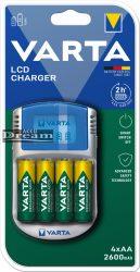 Elem akkumulátor töltő - LCD + AA 2400mAh x4 + 12 V adapter + USB kábel
