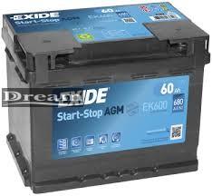 Exide Start Stop Micro Hybrid EK600 60Ah 680A / AGM