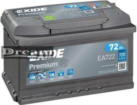 Exide Premium 72Ah 720A EA722 J+